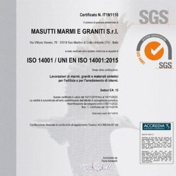 Certificato certificazione ISO 14001 Masutti
