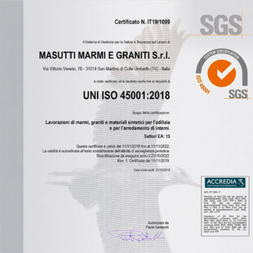 Certifications ISO 45001 Masutti